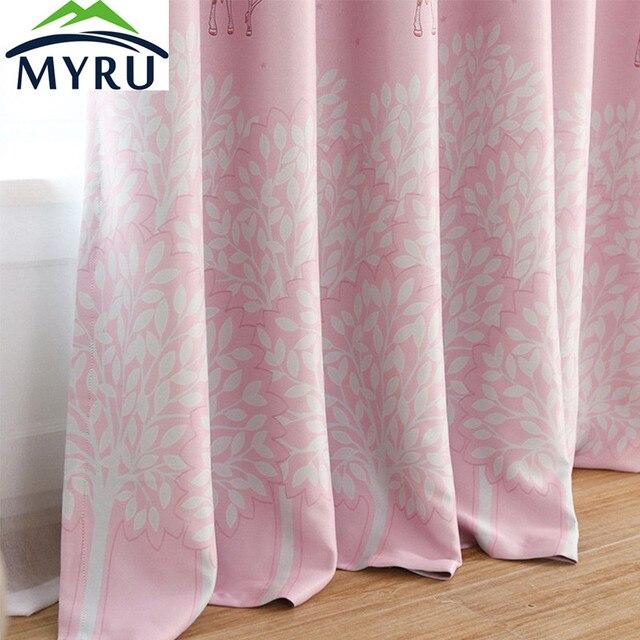 MYRU Korean cartoon pink curtains trees printing cloth curtain white ...