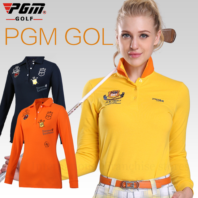 863130d2170 2017New PGM Women Golf Clothing Spring Fashion Turndown Collar Polo Shirts  Lady Autumn Long Sleeve Vetement
