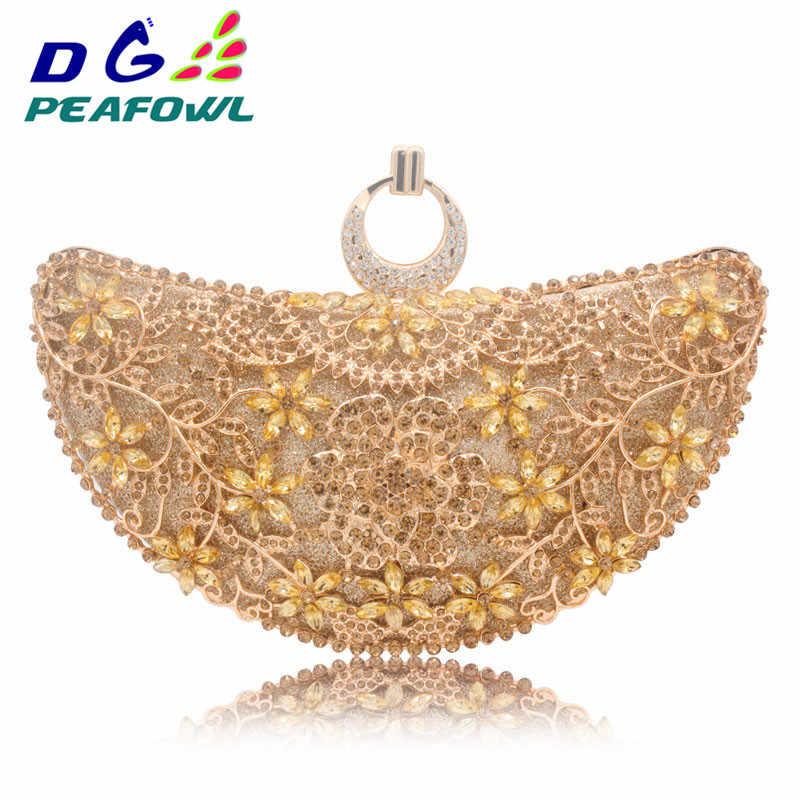 DG peafchouette anneaux lune évider Floral dame pochette rouge diamant cristal trousse de toilette sac à main jour téléphone intérieur paquet sac à main