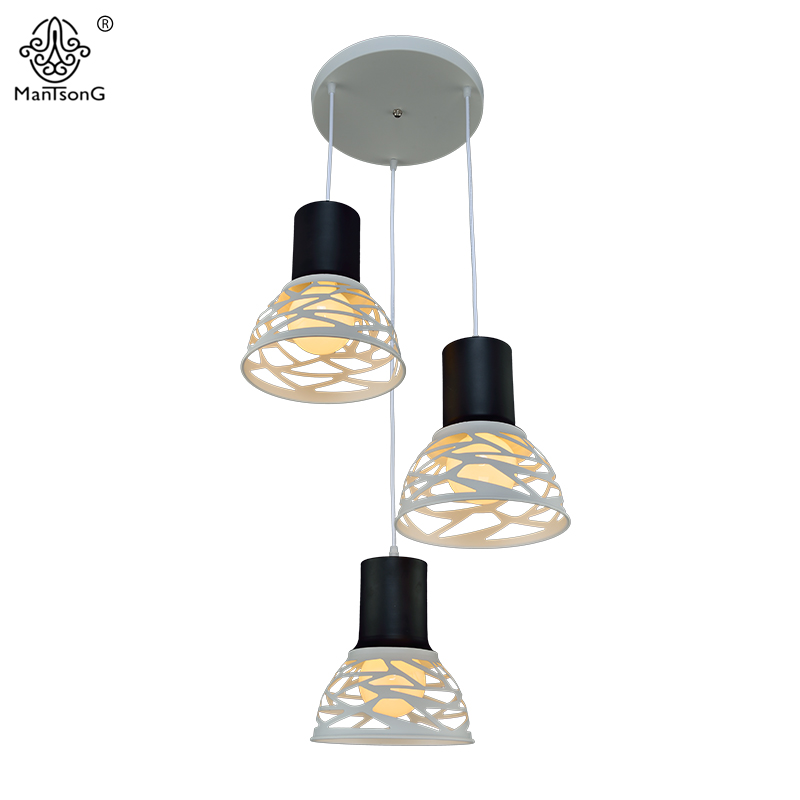 New Modern Pendant Lamps Kitchen Vintage Iron Light Fixtures Dining Room Bedroom Coffee Bar Decor Geometry Hollow Pendant Lights single head small bar of korean modern minimalist iron pendant lamps dining room pendant light the living room kitchen