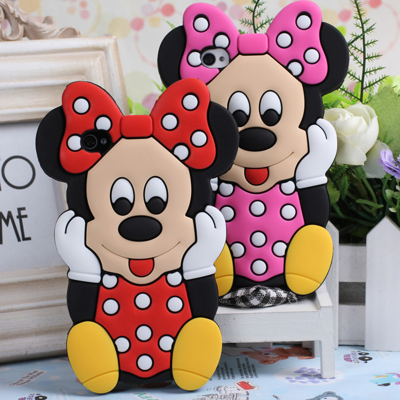 3D Stereo Minnie Mouse Case For Apple iPhone 4 4s 5 5s 5C 6 6S 6 Plus 6S Plus Mickey Soft Silicone Phone Cases Cover Fundas Capa