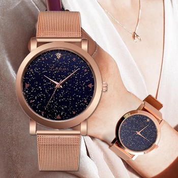 Lvpai Brand Women's Luxury Starry Steel Ladies Rose Case Casual Bracelet Quartz Watches