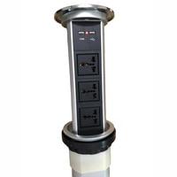 Один ключ умный моторизованный скрытый Pop up power Socket черный цвет 3 универсальные розетки + 2 USB порта зарядного устройства для кухни офиса