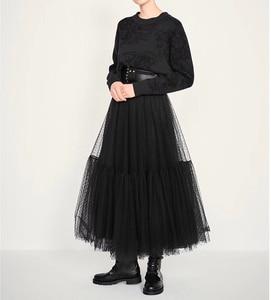 Image 4 - Pista de luxo das mulheres saia preta 2019 moda cintura elástica bola vestido malha saias femininas longo voile maxi saias jupe longue