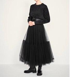 Image 4 - Runway Luxury Women Black Skirt 2019 Fashion Elastic Waist Ball Gown Mesh Skirts Female Long Voile Maxi Skirts jupe longue