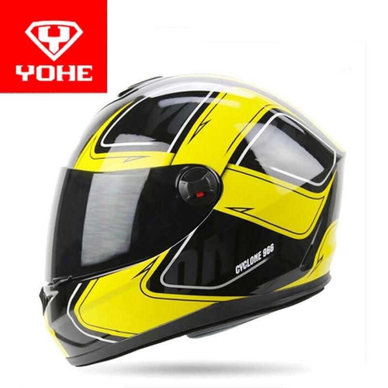 Chevalier protéger YOHE plein visage Moto casque ABS Moteur racing moto casques wiht écharpe Chaude PC visière lentille YH966