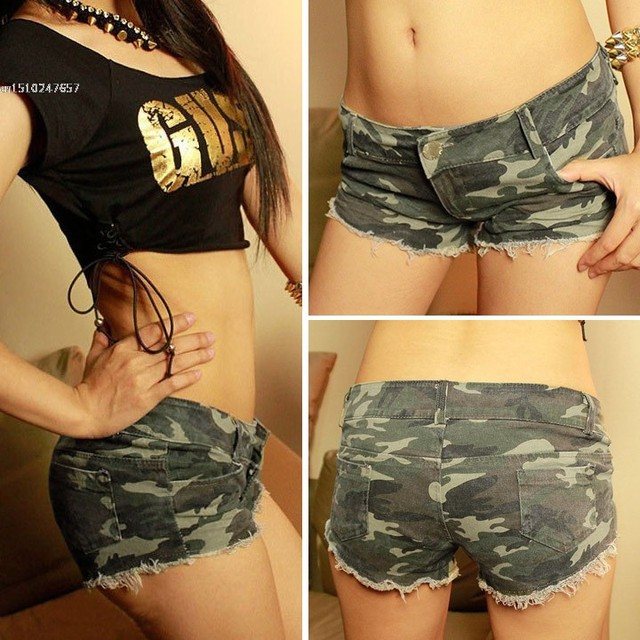 Drop Shipping!Sexy Women's Camouflage Jeans Shorts Hot Denim Low Waist Shorts Ladies Girls Mini Trouser