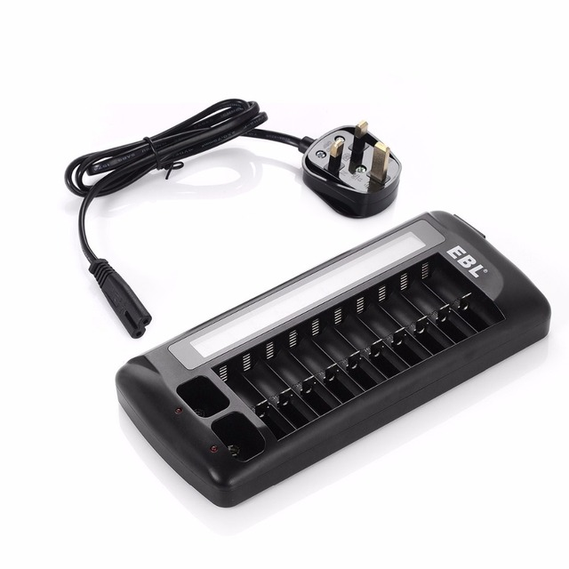EBL 12 Bay LCD Battery Charger for AA AAA Batteries 9v Rechargeable Battery free shipping