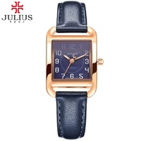 2016 New Luxury Brand JULIUS Quartz Watches Women Rectangle Clock Leather Bracelet Fashion Watch Ladies Reloj Mujer Montre Femme