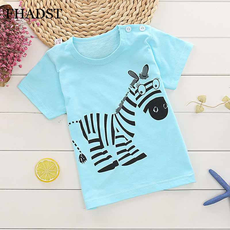 FHADST Fashion Baby 0-2 year Boys T shirt Short Sleeve Blue zebra Casual tees Kids Clothes Character Cute Animal New Cool Cotton