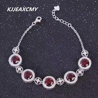 KJJEAXCMY Natural Fashion Bracelet Garnet Bracelet 925 Sterling Silver Silver Jewelry