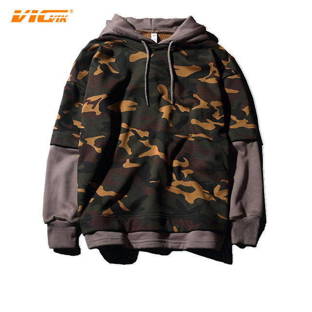 ce671537336c VICVIK Brand Hoodie Sweatshirt Hoodies Supreme Sweatshirt 2017 Fashion Fake  two piece Men Hip Hop Camouflage Pioneer C2043