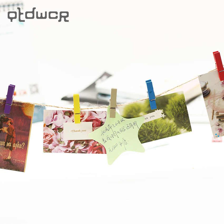 20 個ランダムミニ色春の木クリップ服フォト用紙ペグピン洗濯ばさみクラフトクリップパーティーの装飾