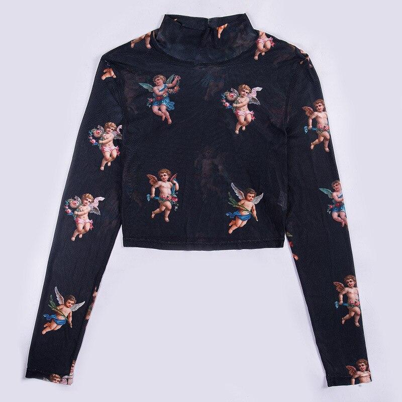 New Fashion Women See-through Sheer Mesh Fishnet T-Shirt Fashion Top Cute Angel Printed Female Summer Mesh Tops 11