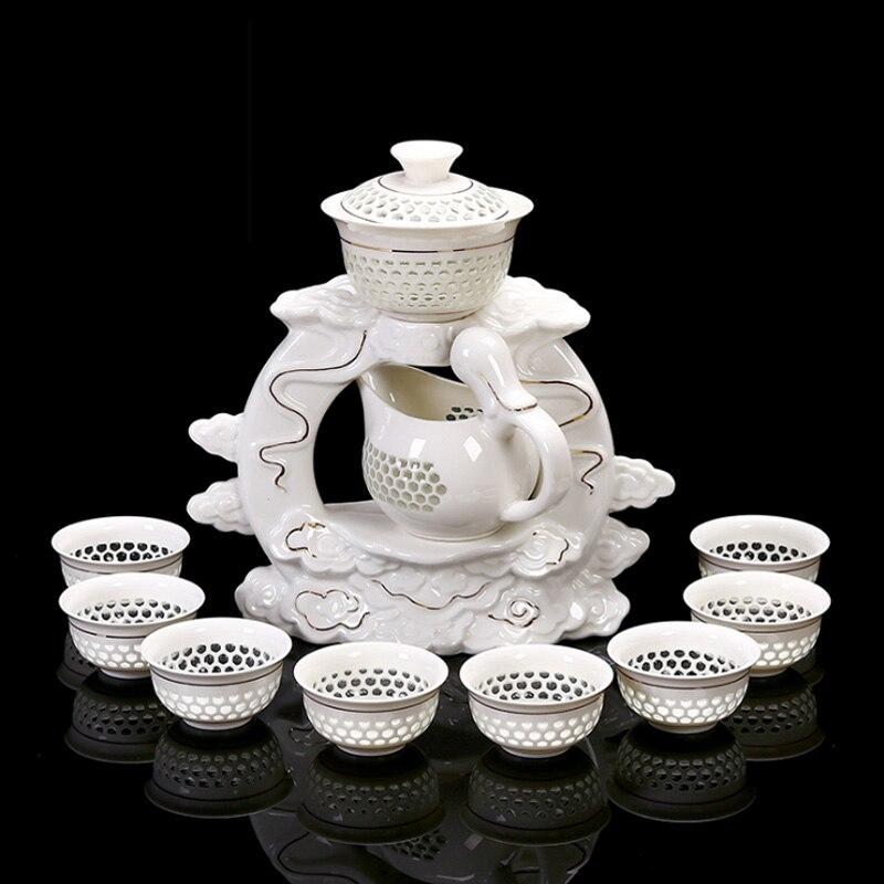 11 PCS/Lot créatif ajouré automatique en céramique porcelaine chinois Kung Fu thé ensemble Teacup juste tasse Gaiwan Base Kit pour Art cadeaux
