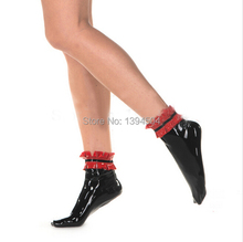 2016 hot Sale Sexo Sex Products Latex red pleated side short Stockings Socks Women Fetish With Flounced Spliced For Halloween