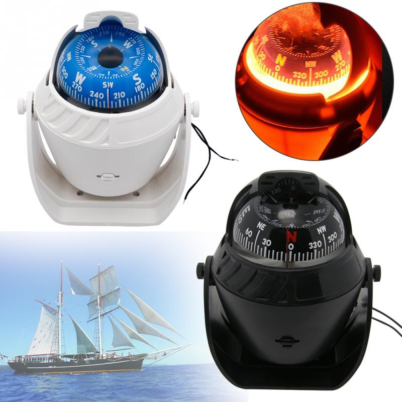 Outdoor High Accuracy Compass Ball LED Light Pivoting Navigation Electronic Compass Sea Marine Military Car Boat Ship Compass#2