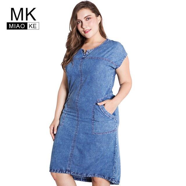 Miaoke плюс Размеры платье из джинсовой ткани для женщин одежда 2018 summerRound вырезом карманы большие размеры 4xl 5xl 6xl