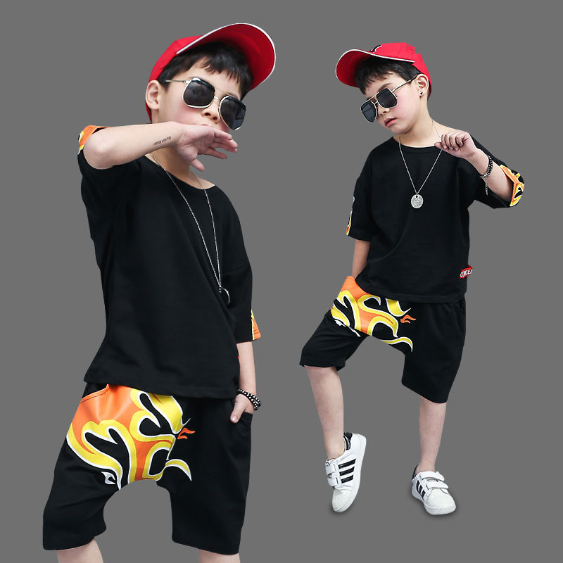 Baby Boys Clothing Sets 2018 New Kids Summer Sports Suits Printed T shirts+shorts 2 PCS Casual Suit Sets For Big Boy clothes