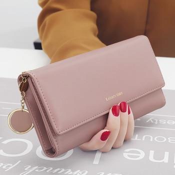 Hot Sale Women Clutch 2018 New Wallet Split Leather Wallet Female Long Wallet Women Zipper Purse Strap Coin Purse For IPhone Кошелёк