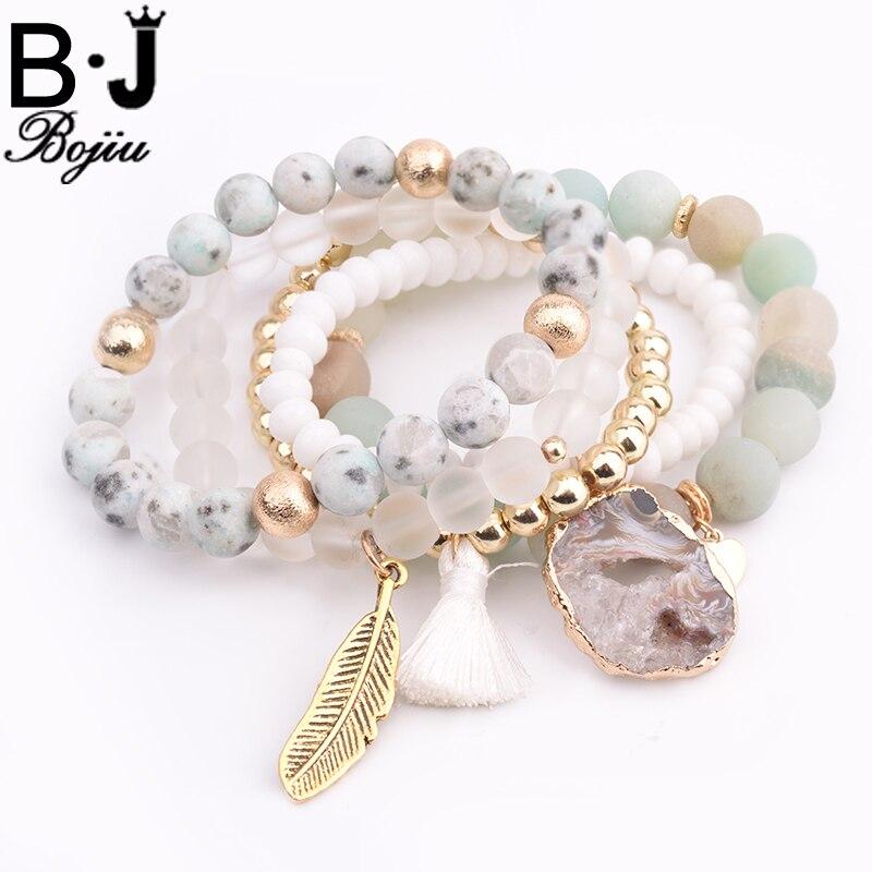 все цены на BOJIU Trendy Women Bracelet Set Natural Ag. Stone Druzy Stone Exquisite Leaf Pendant Bracelet Sets Festival Gifts BCSET20