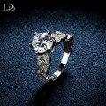 1.5 карат AAA CZ ювелирных изделий с бриллиантами обручальные кольца для женщин урожай Белый 585 позолоченный кристалл bague листья DD097