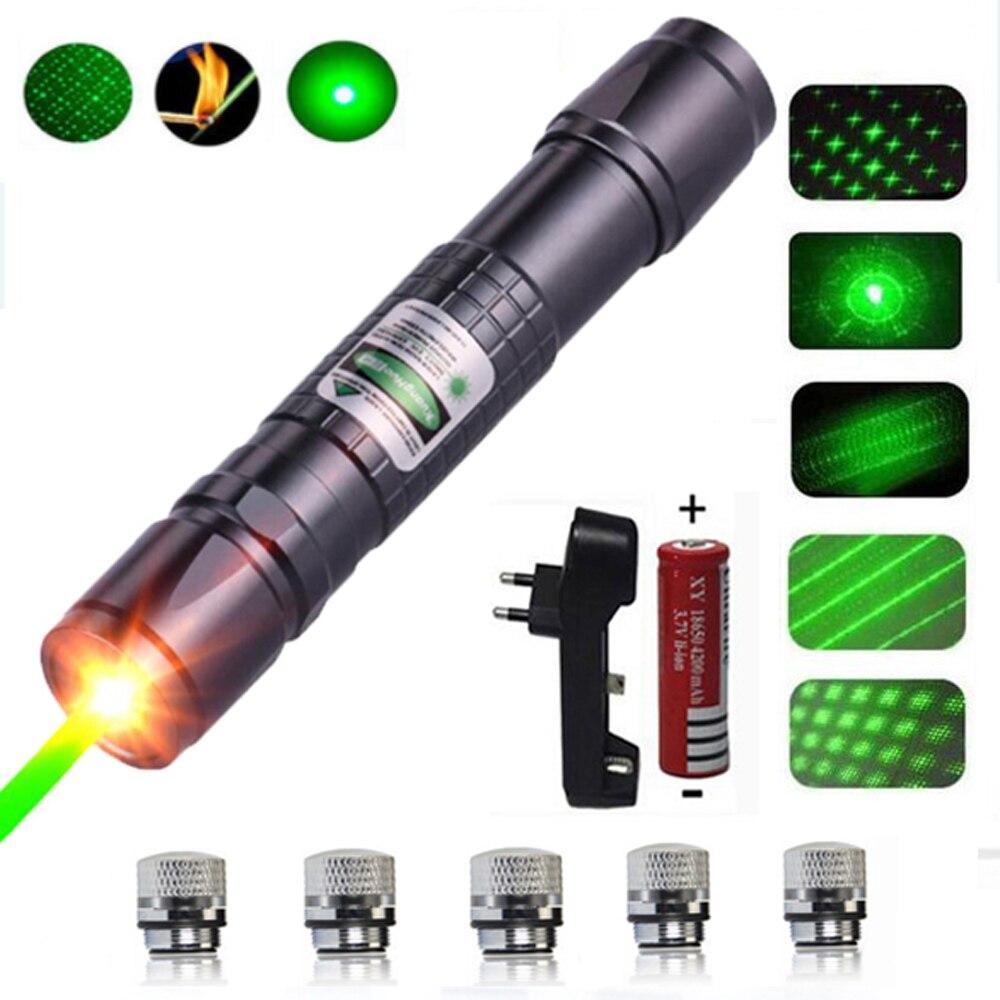 Láser de alta potencia puntero láser verde táctico láser pluma 303 quemando laserpen poderoso laserpointer linterna