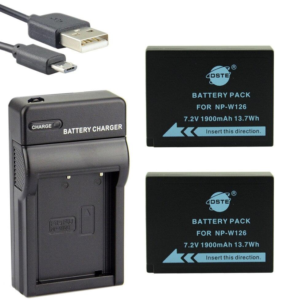 DSTE 2 PCS NP-W126 NP-W126S Caméra Batterie Avec UDC129 USB Chargeur pour Fuji HS50 HS35 HS33 HS30EXR XA1 XE1 X-Pro1 XM1 X-T10