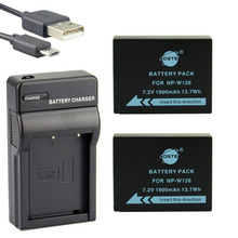 DSTE 2PCS NP-W126 NP-W126S Camera Battery With UDC129 USB Charger for Fuji HS50 HS35 HS33 HS30EXR XA1 XE1 X-Pro1 XM1 X-T10