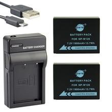 DSTE 2 pcs NP-W126S NP-W126 Li-ion Battery + UDC129 Carregador USB para HS30EXR Fuji HS33 HS35 HS50 X-Pro1 XE1 XM1 XA1 Câmera X-T10