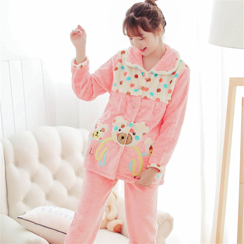 Winter Long Sleeve Flannel Breast-Feeding Home Wear Lovely Cartoon Thickening Maternity Pajamas Flannel Nursing Clothing pregnant women long nightdress women sleep nightshirt winter flannel thickening long nightgown maternity