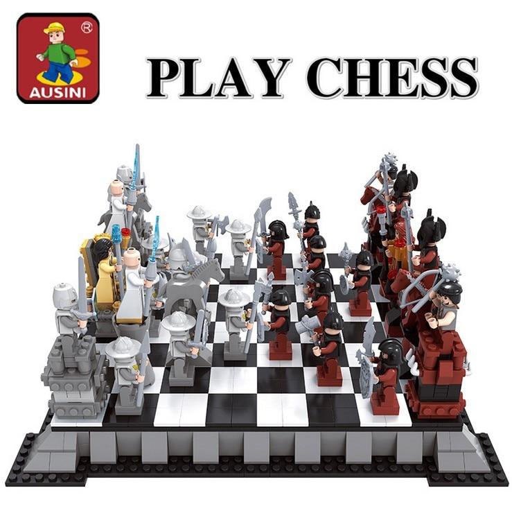 AUSINI 2017 New Enlighten Castle Series international chess Model Building Blocks Sets minis Kids Bricks Toys Bringuedos DIY