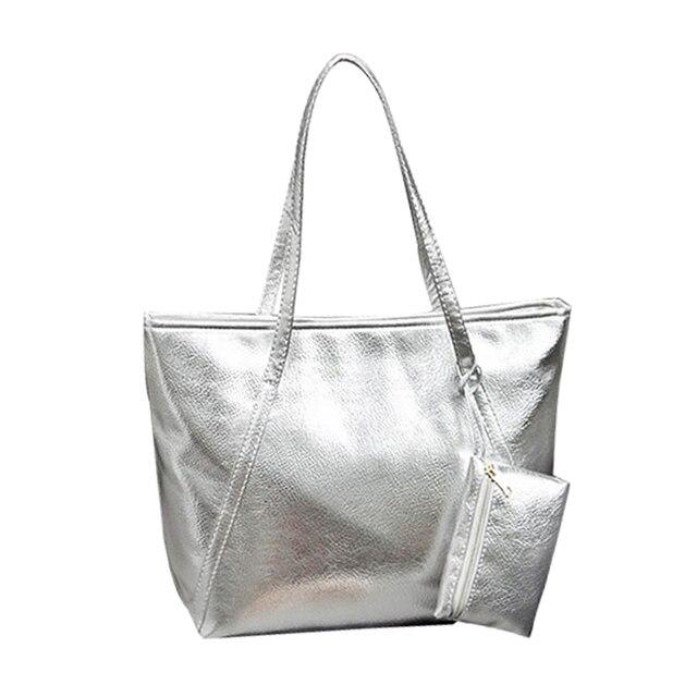 2016 New Women Leather Bags PU Silver Causal Tote Shopper Bag Designer  Brand Women S Handbags Ladies Shoulder Bag 5e236f70db