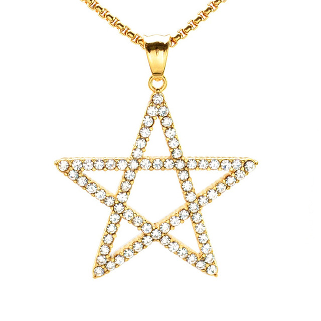 83669bd41944 Punk Gold Tone Silver Tone Stainless Steel Pentagram Five-Pointed Star  Crystal Pentacle Pendant Necklace