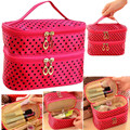Cute Warm Color Wave Point Double-deck Lady Makeup Bag Clutch Travel Organize Case Beauty Cosmetic Handbag with Mirror Maquiagem
