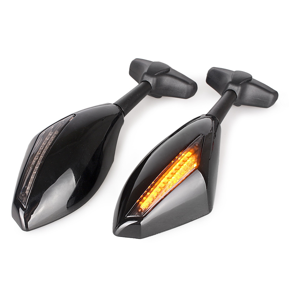 Universal Motorcycle Rear View Side Wing Mirrors w/ LED Turn Signal Light for Honda Kawasaki Suzuki Yamaha Ducati Street Bikes ...