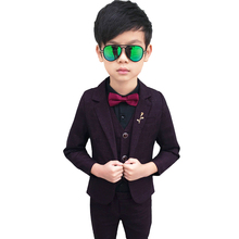 3pieces Suit For Boy Weddings Costume 2019 Baby Boys Blazer Spring Autumn Gentlemen'S Clothing For Boys Coat+Vest+Pants 2018 boys blazer suit kids blazers for weddings party gentleman baby boys suit 3pieces coat vest pants boys clothing 3 10t