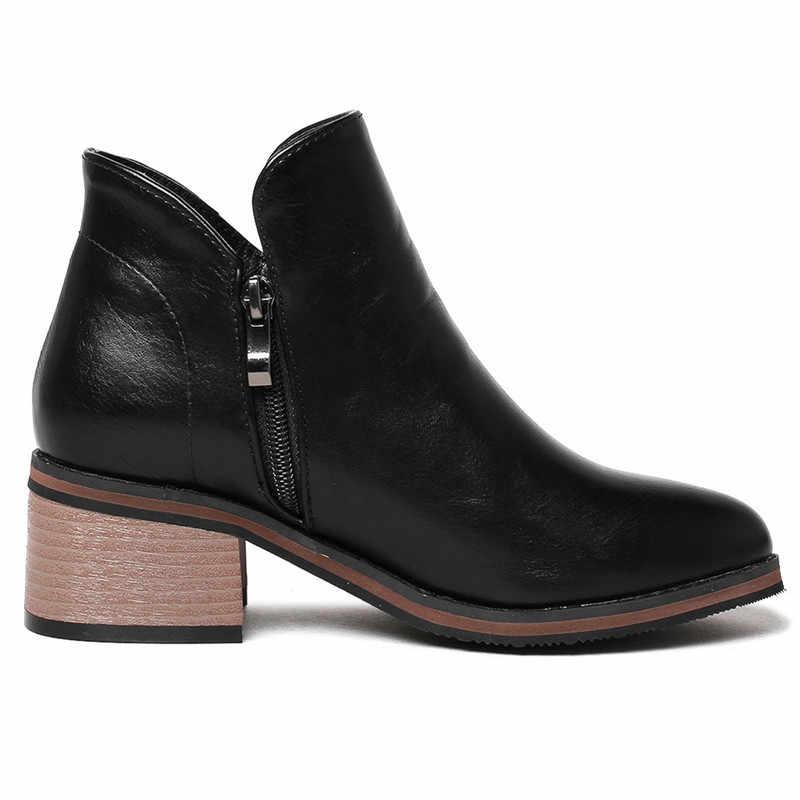 ASUMER Artı boyutu 34-42 yarım çizmeler kadınlar için yuvarlak toe zip sonbahar kış çizmeler kare topuklu kadın Retro yarım çizmeler