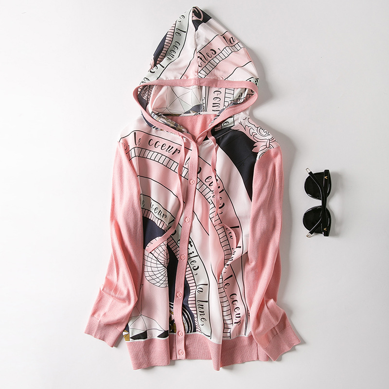 In the spring of 2019 new women s clothing wholesale hooded draw string to semicircle printed