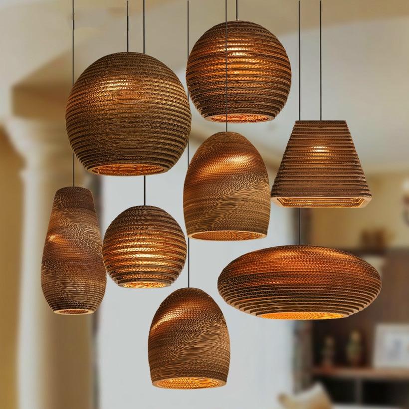 Southeast Asia Paper Lustre Pendant Lights Bamboo Art Pendant Lamp Living Room Cafe Clothing Luminaire Suspendu Hanging Lamp