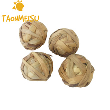 Natural Aquatic Plant Grass Braided Ball Bunny Hamster Small Pet Chewing Toy Parrot Feet Standing Toy