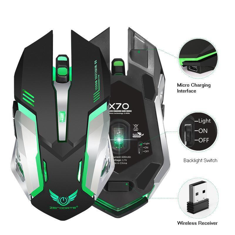 SeenDa Adjustable DPI Rechargeable Mouse 2.4GHz Wireless Gaming Mouse Ergonomics Mice Colorful Backlight Breathing Game Mouse image