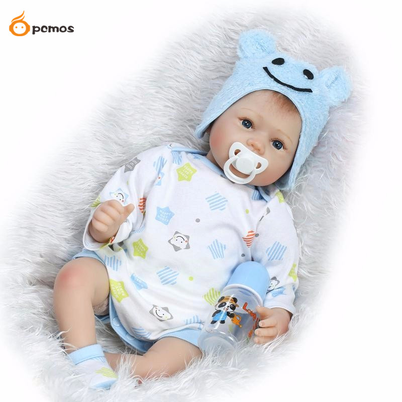 [PCMOS] 2017 New 22'' Handmade Lifelike Reborn Blue Eyes Baby Boys Doll Silicone Vinyl kids Gift Collection 16071412
