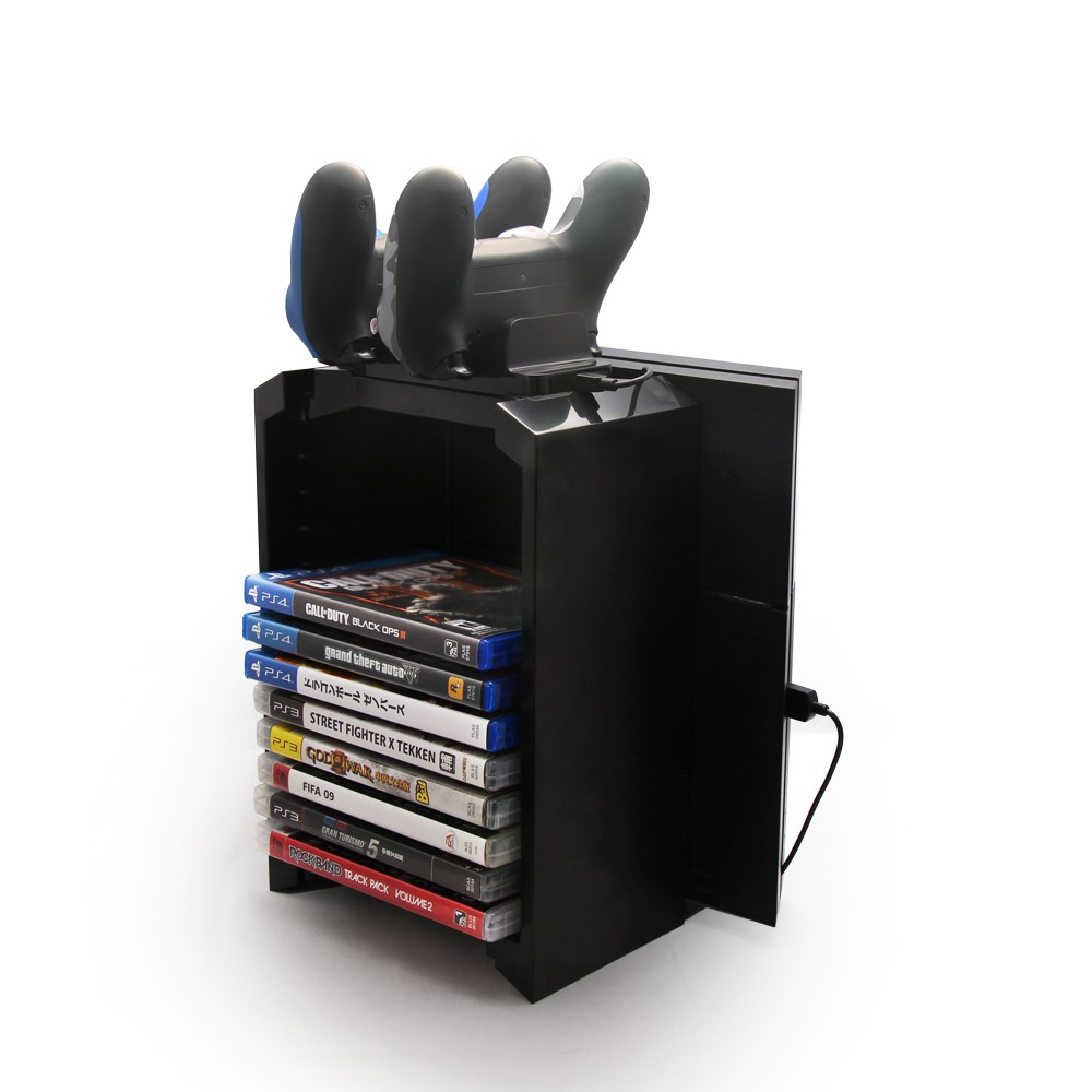Top selling Multifunctional Disk Storage Tower with Dual Controller Stand Charging Dock Station for Sony Playstation 4 PS4