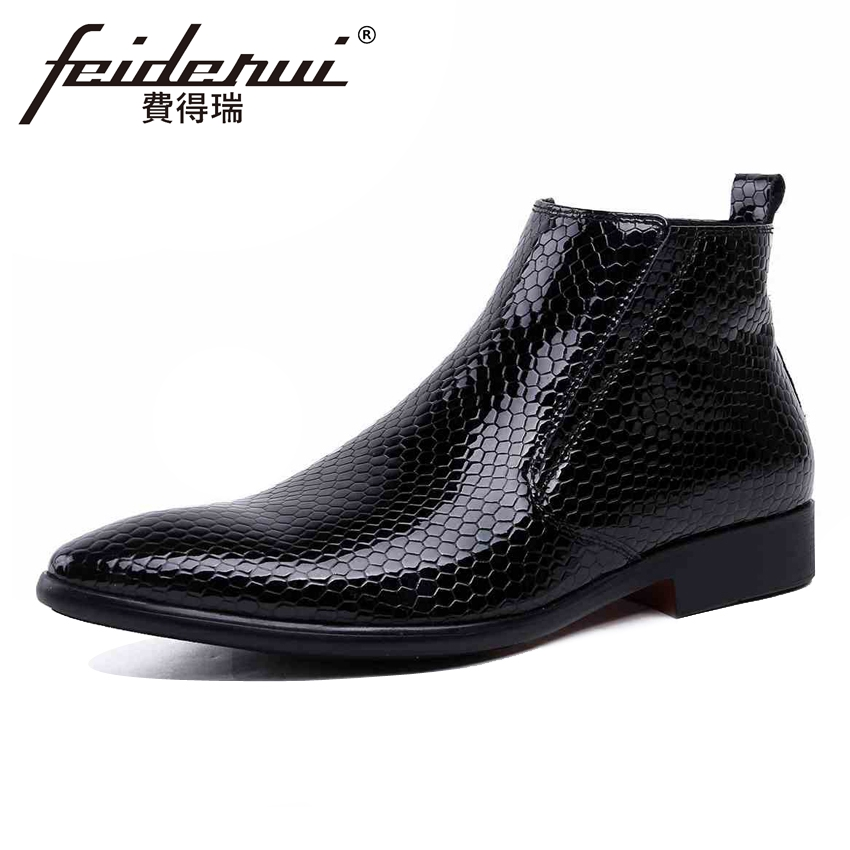 Italian Patent Leather Mens High-Top Ankle Boots Luxury Pointed Toe Handmade Cowboy Man Formal Dress Wedding Shoes YMX126Italian Patent Leather Mens High-Top Ankle Boots Luxury Pointed Toe Handmade Cowboy Man Formal Dress Wedding Shoes YMX126