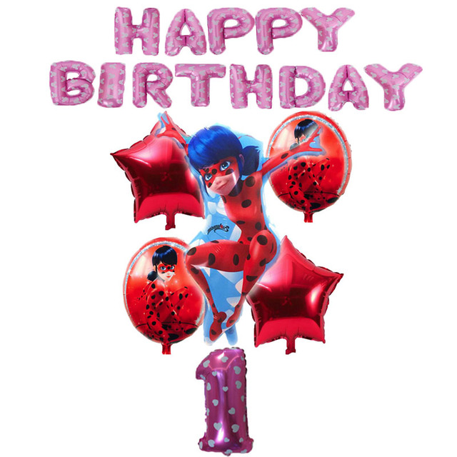 19pcs Miraculous Ladybug Ballon Anniversaire Happy 1st Birthday Party Decorations Kids Balloons Air Deco Fille