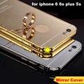 1 pc luxry espelho colorido metal alumínio quadro acrílico espelho de plástico de volta caso capa para iphone 5 5s 6 6 s plus