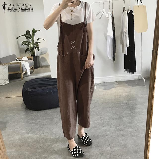 e4faca021d6 Plus Size ZANZEA Rompers Women Jumpsuit Casual Overalls Boho Cotton Playsuits  Loose Wide Leg Pants Sleeveless