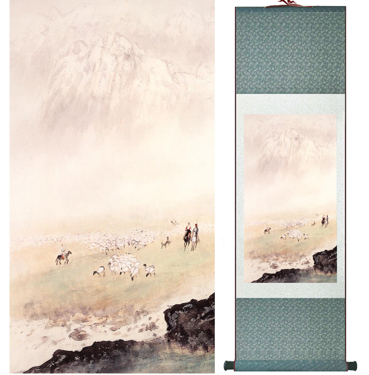 landscape painting Home Office Decoration Chinese scroll painting mountain and River paintingPrinted painting050504