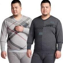 Fat people large Thermal underwear sets Men Plus velvet Cotton sweater underwear One set 4XL/5XL/6XL/tb111002